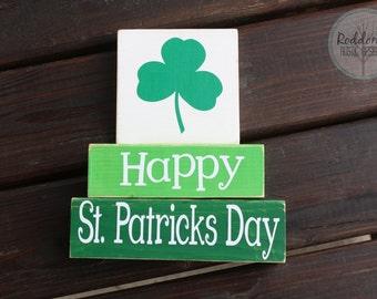 St. Patricks Day - Staking Blocks- Holiday Decor- March Decor -