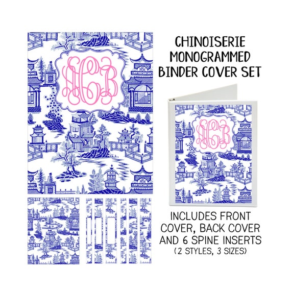 Chinoiserie Personalized Printable Binder Covers - Front & Back Covers and Spine inserts - Dress up Your Three Ring Binder!