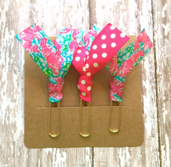 "Lilly Pulitzer ""Lobstah Roll"" and Pink Dots Ribbon Paper Clips - Set of Three - Great for Planners, Notebooks, Bookmarks & More!"