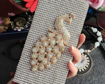Bling Flip Slot Cards Holder AB Peacock Wallet Leather Crystals Luxury Rhinestones Lovely Diamonds Gems Fashion Cover Case for Mobile Phone