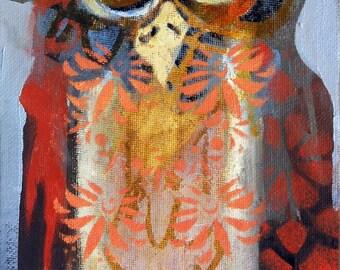 Owl art, whimsical art, original art, oil painting, small painting, whimsical bird art, whimsical animal art, contemporary art, owl decor