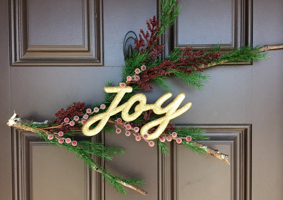 "50% off! Rustic Christmas decor; natural branch with evergreen, berries and gold ""joy"" lettering"