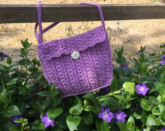 Shoulder bag in cotton crocheted lined