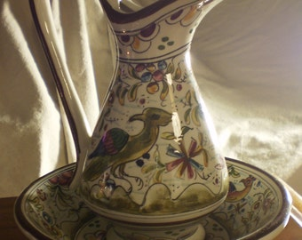 Handpainted Portuguese Ceramic Pitcher and Bowl