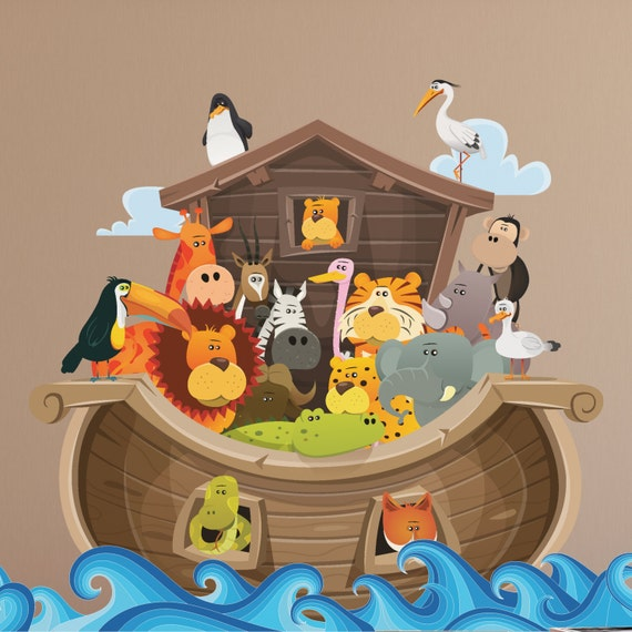 giant noah s ark wall decal noah with animals ark wall noah s ark giant wall sticker nubie