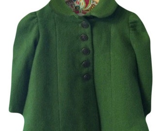 Toddler girl's retro tailored wool coat size 1 year in moss green