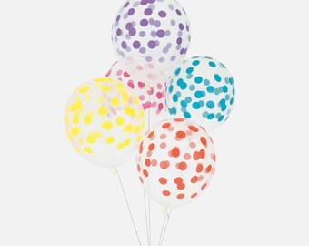 5 ballons imprimés confettis multicolores