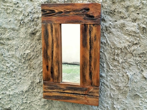 rustic wood mirror small mirror wood frame by thewoodartshop
