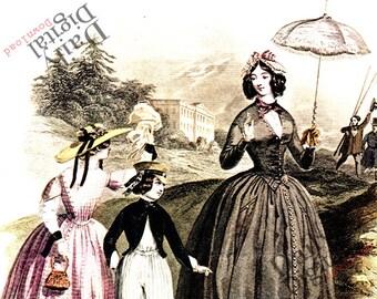 Fashion Digital Print Jules David French Antique Illustration Montieur de la Mode Instant Download Paris 1844 Fashion Wall Art