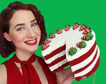 Red velvet Cake purse Red Velvet Cake Strawberry whipped cream layer slice cakes food art design designer chic rommydebommy fun bag