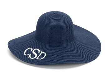 Navy Floppy Sun Hat Monogram Beach Hat Floppy Beach Hat Sun Hat For Women Sun Hat Women Monogram Floppy Sun Hat Navy Floppy Beach Hat