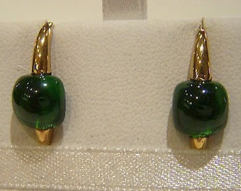 Silver earrings quartz tourmaline