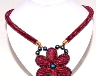 Embroidered crochet rope necklace RED FLOWER