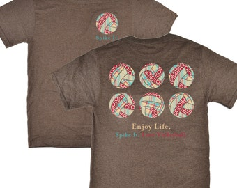 Spike It Enjoy Life Volleyball Brown T-shirt - Was 19.95 NOW 11.97