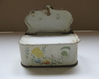 Old French enamelled tin hanging container.