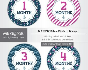 Nautical Baby Girl Monthly Milestone Stickers, INSTANT DOWNLOAD Printable Monthly Stickers, Pink and Navy, Girl Baby Shower