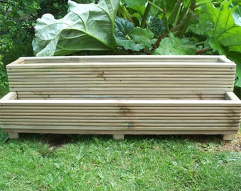 Two tiered tanalised wooden decking garden planter, 1000mm wood trough, handmade