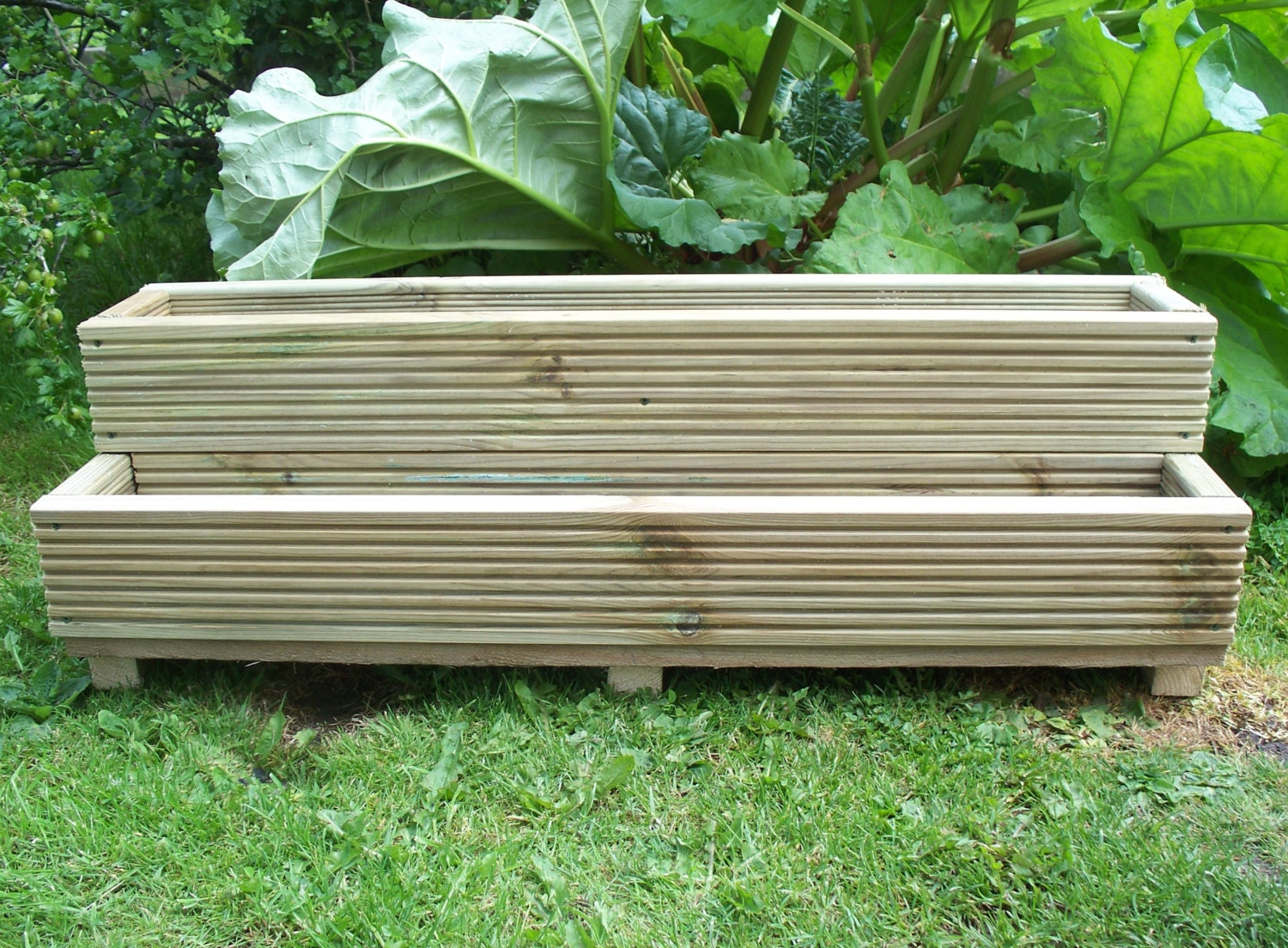 Two tiered tanalised wooden decking garden planter 1000mm for Tanalised timber decking