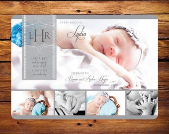 Baby Birth Announcement Lace - Multiple pictures