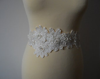 Ivory satin bridal belt