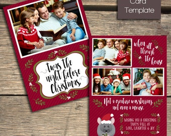 Twas the Night Before Christmas Card - 5x7 Photoshop Template - INSTANT DOWNLOAD