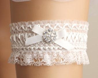 wedding garter, bridal garter, lace garter, white garter, crystal garter, white lace garter, cute garter