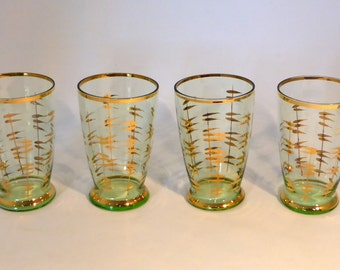 Set of 4 mid-century atomic glass tumblers