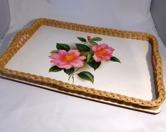 White & pink floral melamine tray with woven edging - original from the 1970s