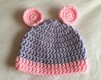 Baby Hat with Ears, Purple and Pink Beanie
