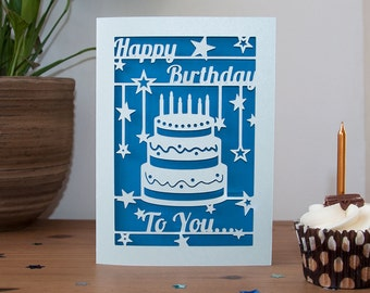 Happy Birthday Card Paper Cut - 5x7 Inches - Cake