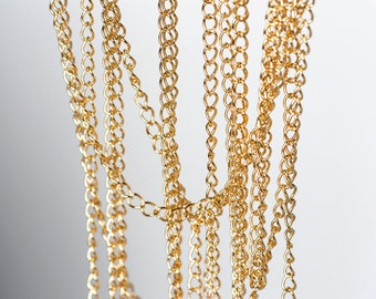 2114_ Gold curb chain 3mm, Curb link chain, Curb chain gold, Twist curb chain, Twisted curb chain, Gold plated chain for jewelry making _1 m