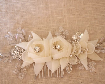 2 pcs bridal headpiece, bridal hair flower, rhinestone bead headpiece, pearl bead headpiece, bridal headband, chiffon flower , TS15008
