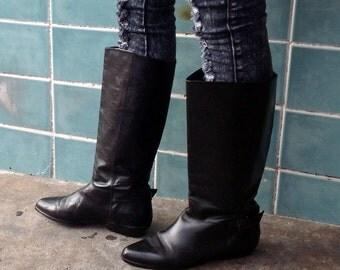 sz 7 M  vintage flat black leather riding boots