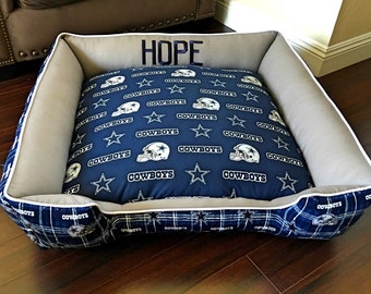 Cowboys plush dog bed (FREE PERSONALIZATION with your pet's name)