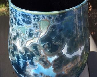 Blue Galaxy Crystalline Vase