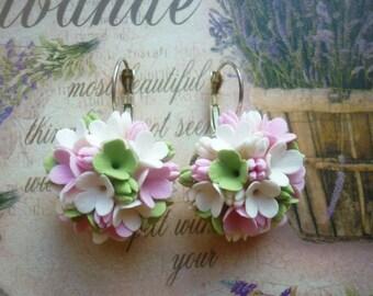 Flower earrings Floral earrings Cluster earrings Clip on earrings Green flower earrings Pink flower earrings White flower earrings Wedding