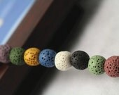 Lava beads, smooth round shape,15 inches 1 strand,  mixed color beads,10 mm