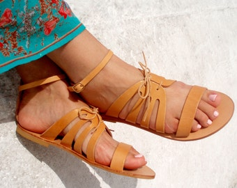 Handmade Leather Sandals Full Grain Leather Women Sandals Ancient Greek sandals