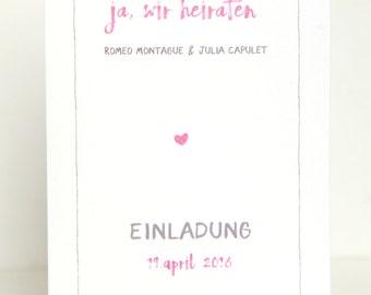 "Invitation wedding ""Pink wedding"" greeting card"