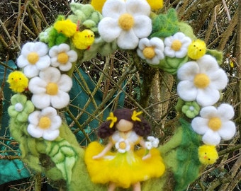 Crown felted wool needle inspiration Waldorf Freshness Spring