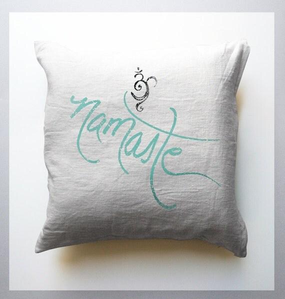 Namaste and Om White Throw Pillows mandala Yoga home decor