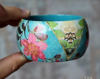 Floral Jewelry Wood Bracelet Romantic Flowers Bangle ,Decoupage,Handmade.