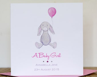 Personalised New Baby Card - Bunny Rabbit and Balloon