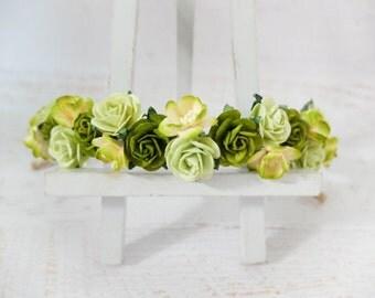 Green flower crown - wedding floral hair wreath - flower headpiece - flower hair accessories for girls