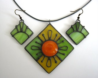 Jewelry set Stained glass Pendant Earrings Summer gift Handmade Contemporary jewelry