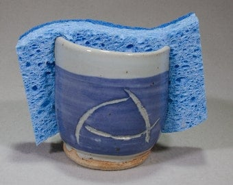 Blue and Gray Sponge Pot with Abstract Designs