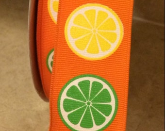 """1.5"""" Wire-edged Oranges and Limes Ribbon Yellow & Green  3 Feet"""
