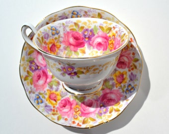 Vintage SERENA Royal Albert Bone China Tea cup with  saucer,  England Porcelain teacup, Finest Vintage  China, Red Rose tea cup