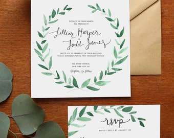 Natural Greenery Wreath Watercolor Wedding Invitation