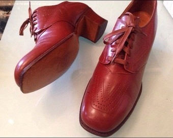 30's-40's Cinnamon Leather Oxfords Lace Up- Stacked Heel - Dead Stock~ 7B 7